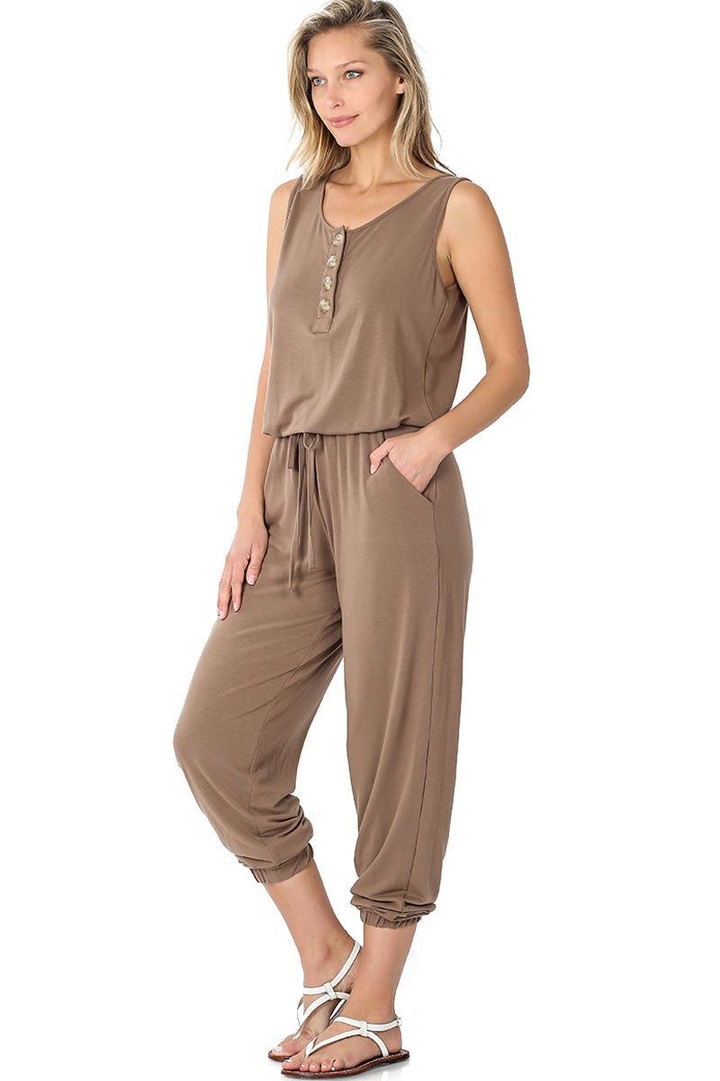 Lounge the Day Away Romper - Mocha
