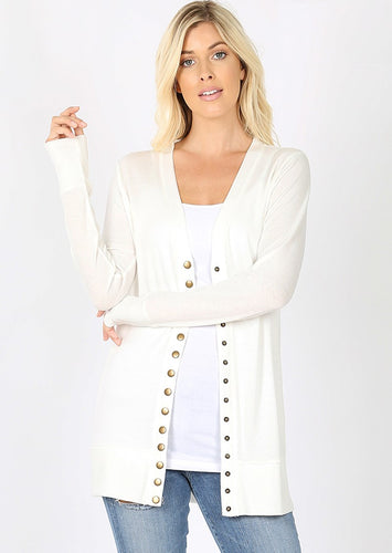 Mid-Length Snap Cardigan - Ivory