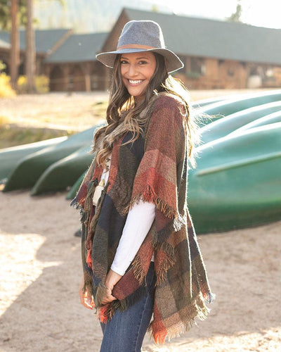 Grace & Lace Dakota Faux Fur Poncho ~ Autumn Check