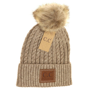 CC Beanie Double Braided Fur Pom Beanie ~ Various Colors!