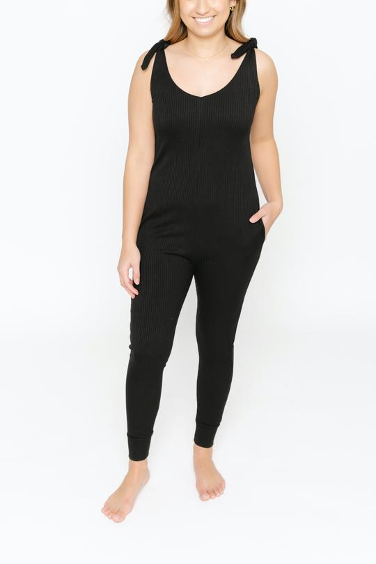 Smash + Tess Knot Your Average Romper - Midnight Black