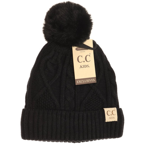 KIDS ~ CC Beanie Cable Knit Fur Pom Beanie ~ Black