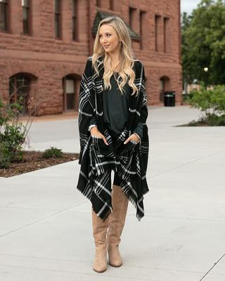 Grace & Lace Pocket Poncho/Scarf - Black White Windowpane