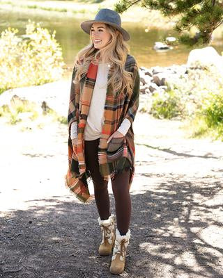 Grace & Lace Pocket Poncho/Scarf - Harvest Plaid