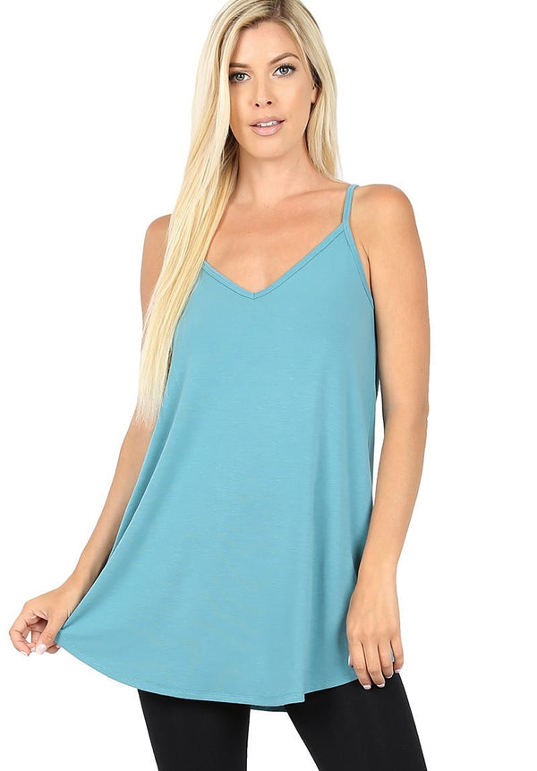 Reversible Spaghetti Strap Tank - Dusty Teal
