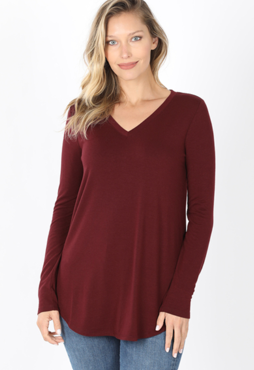 Everyday Long Sleeve V-Neck - Dark Burgundy