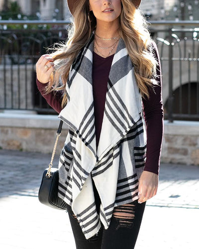 Grace & Lace Winter Plaid Vest - Ivory/Black