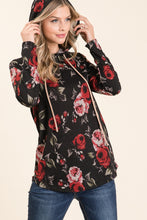 Load image into Gallery viewer, Roses are Red Hoodie - Black Floral - SALE!
