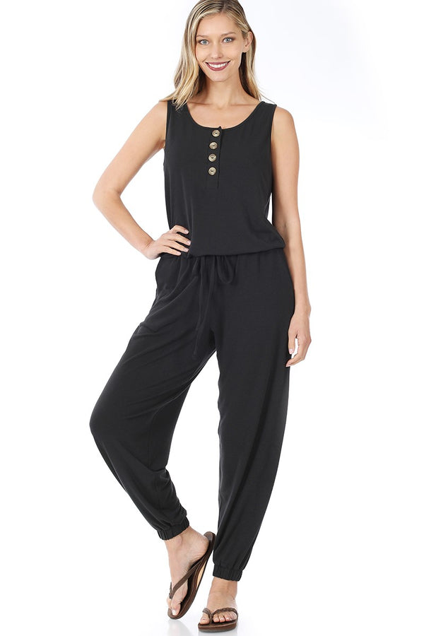 Lounge the Day Away Romper - Black *curvy*