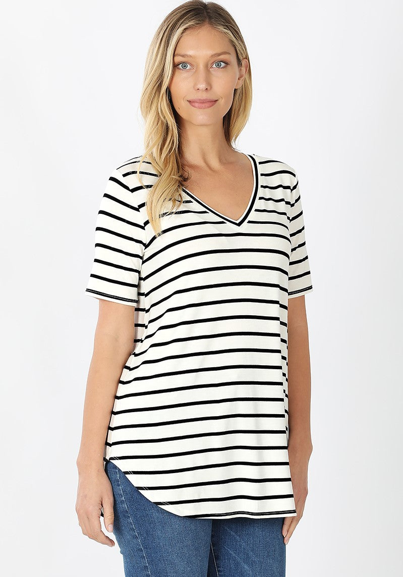 Must Have Striped Tee - White/Black - SALE!