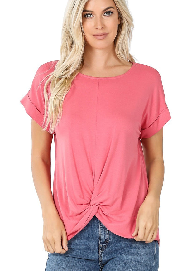 Center Knot Tee - Rose