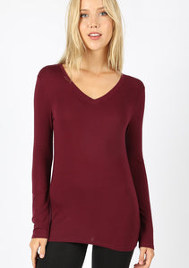 Layering Long Sleeve V-Neck - Dark Burgundy