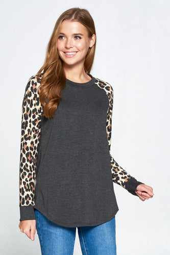 Leopard Print Top - Charcoal *up to 3x*