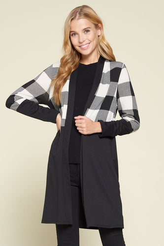 True North Blocked Cardigan - Black/White