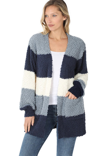 Striped Popcorn Cardigan - Navy