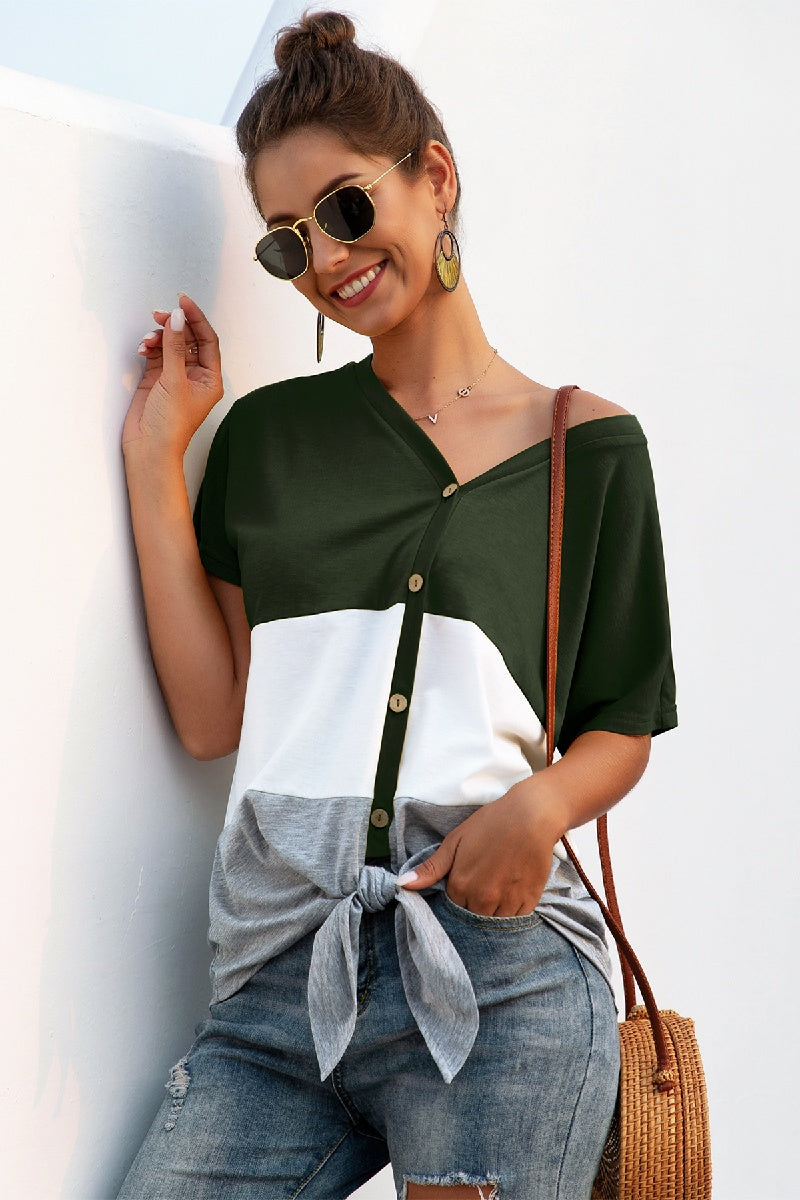 Button Down Color Block Top - Olive