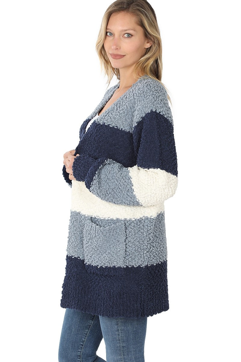 Striped Popcorn Cardigan - Navy - SALE!