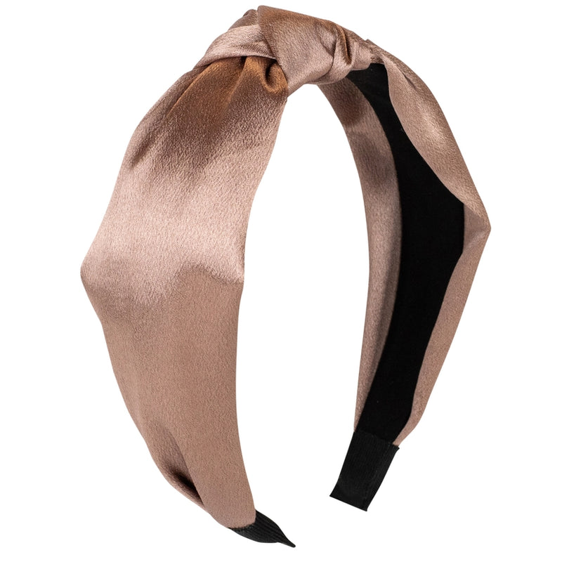 Hotline Satin Knot Headband - Caramel