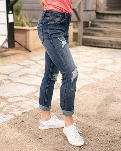 Grace & Lace Favorite Girlfriend Jean ~ Distressed Dark Wash - SALE!