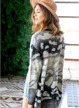 Soft Tones Open Cardigan - Black/Grey