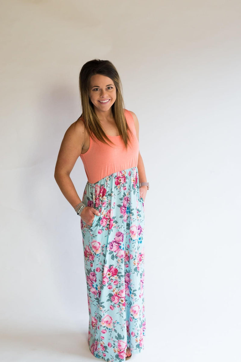 Shirley & Stone Maxi Dress - Coral/Mint
