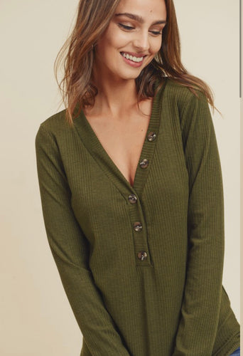Button Knit Top - Olive - SALE!