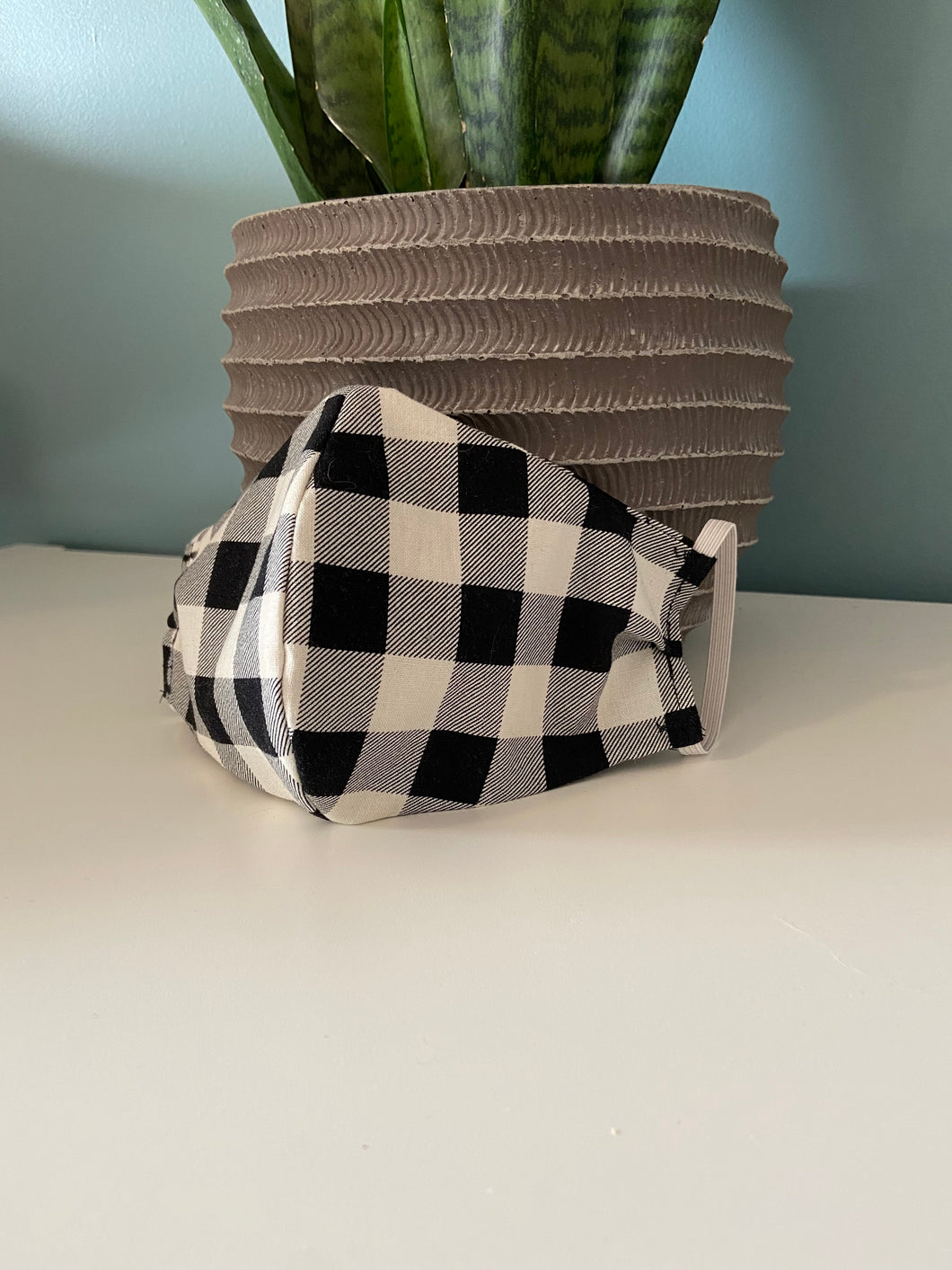 Kids Face Mask - Black & White Plaid