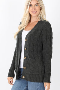 Cable Knit Cardigan - Charcoal
