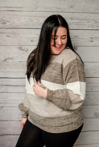 Chelsey Striped Sweater - Mocha - SALE!