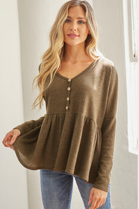 Ellie Baby Doll Top - Olive