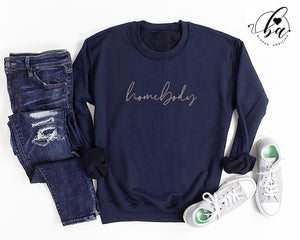 """Homebody"" Cozy Crew Neck Sweater - Navy"
