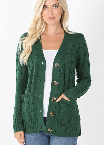 Cable Knit Cardigan - Dark Green - SALE!