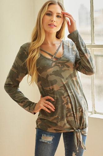 Criss Cross Camo Top - SALE!