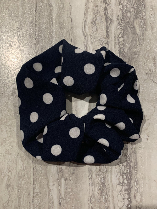 The Perfect Scrunchie - Navy Polka Dot