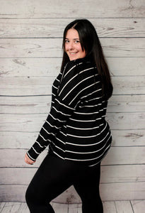 Moment of Truth Stripe Top - Black/White