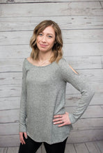 Load image into Gallery viewer, Cold Shoulder Top - Heather Grey - SALE!