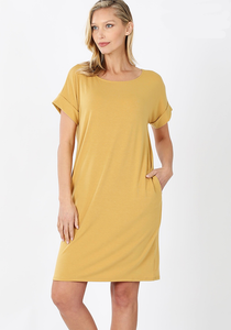 Madison T-Shirt Dress - Light Mustard - SALE!