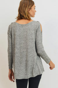 Cold Shoulder Top - Heather Grey - SALE!