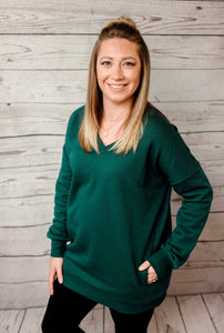 Alyssa Side Pocket Sweater - Deep Green