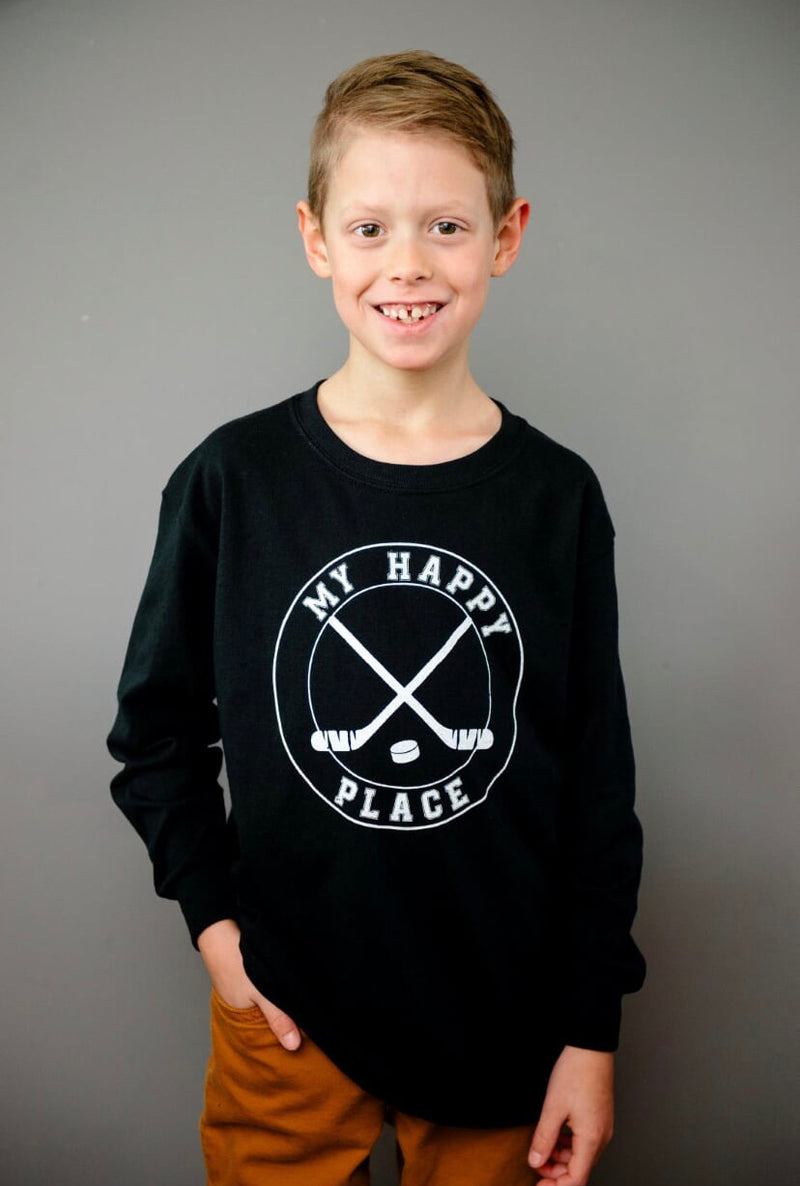 "KIDS ~ ""MY HAPPY PLACE"" Long Sleeve Tee - Black - SALE!"