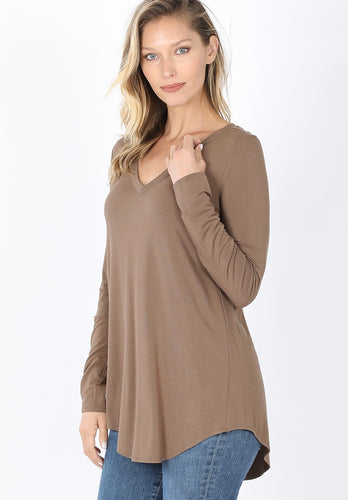 Everyday Long Sleeve V-Neck - Mocha - SALE!
