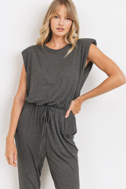 Charcoal Shoulder Pad Jumpsuit