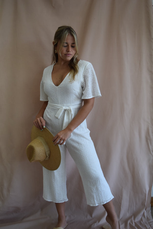 White Open Back Jumpsuit