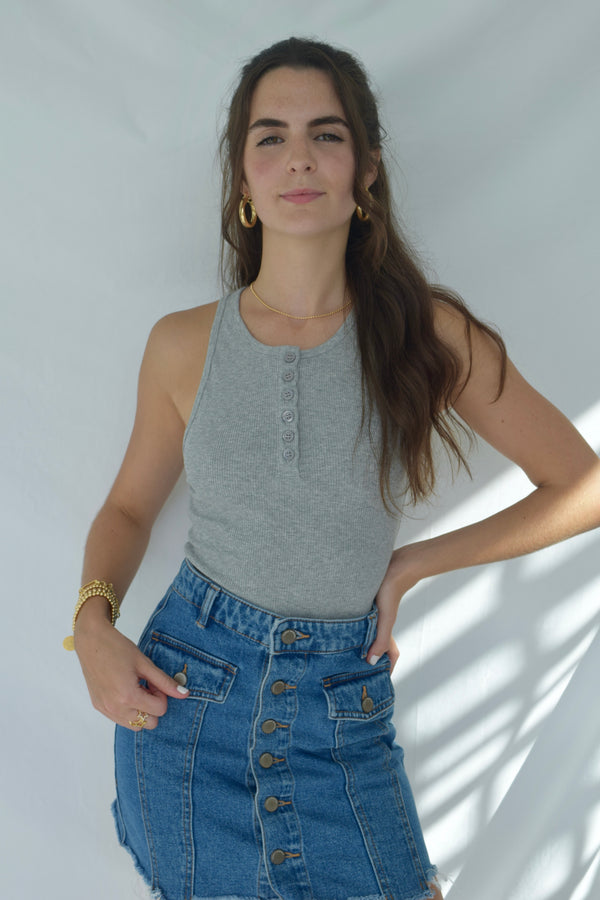 Grey Racerback Top