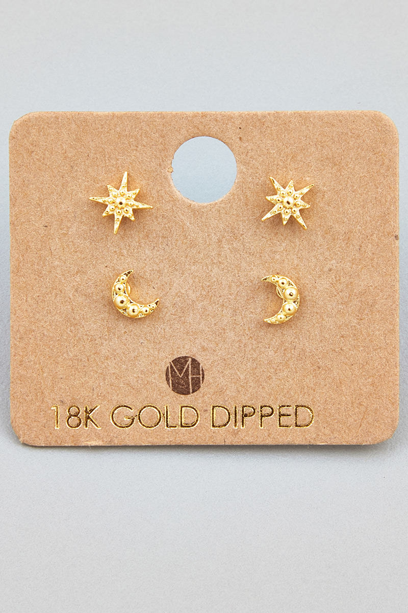 Mini Star Moon Stud Earrings Set