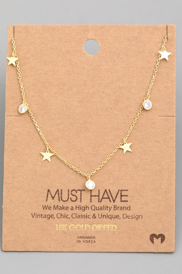 Star Stud Charm Necklace