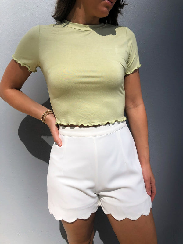 Pale Lime Cropped Tee