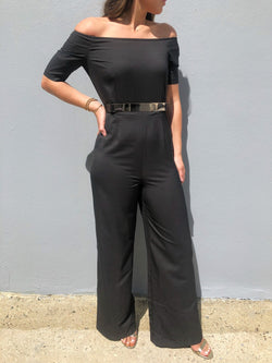 Strapless Jumpsuit With Gold Belt
