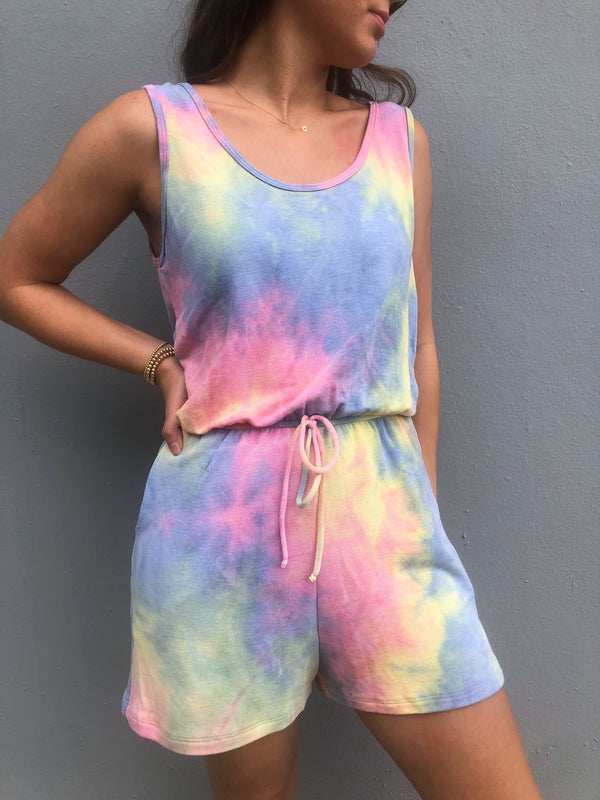Sleeveless Tie Dye Knit Romper