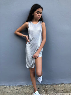 Kids Grey Stripe Maxi Dress